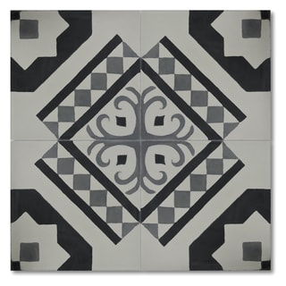 Pack of 12 Handmade Bouman Black and White Cement and Granite 8-inch Floor or Wall Tile (Morocco)