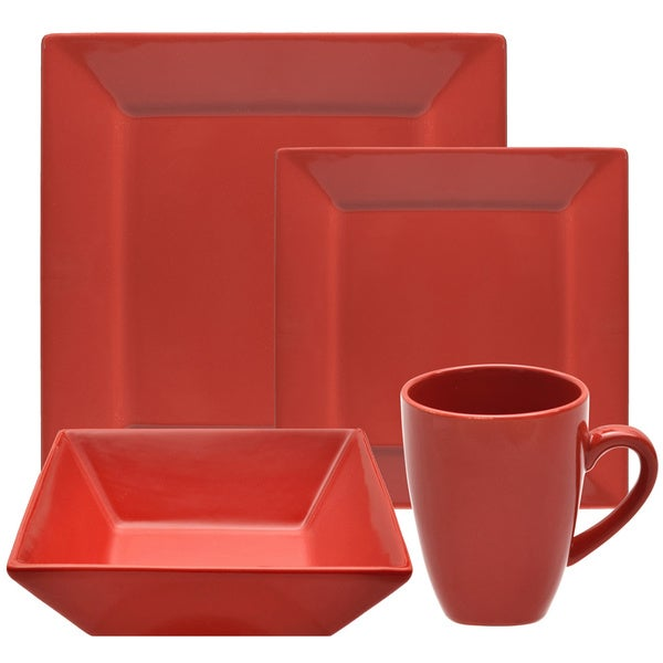 vivo 16 piece red square dinner set 17078035