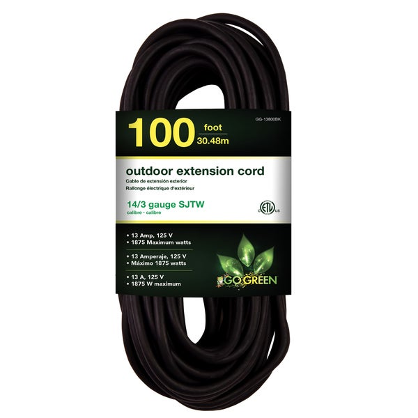 GoGreen Power 100-foot 14/3 Guage SJTW Outdoor Heavy Duty Extension Cord
