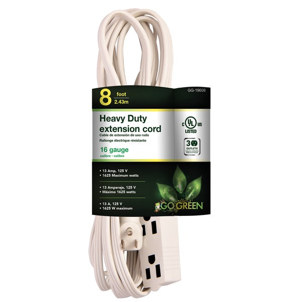 8-foot 3-outlet 16/3 Extension Cord