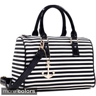 Dasein Anchor Canvas Striped Satchel Bag