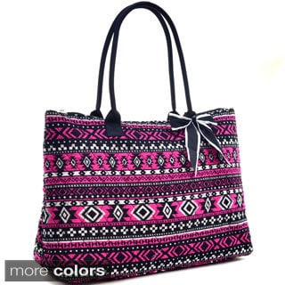 Dasein Quilted Aztec Oversized Tote Bag