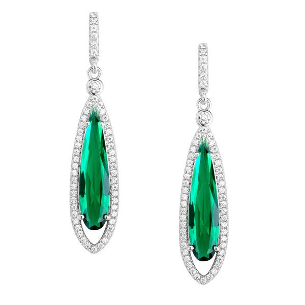 La Preciosa Sterling Silver Green and White CZ Teardrop Earrings