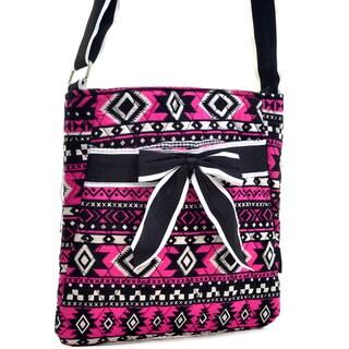 Dasein Aztec Pattern Quilted Messenger Bag