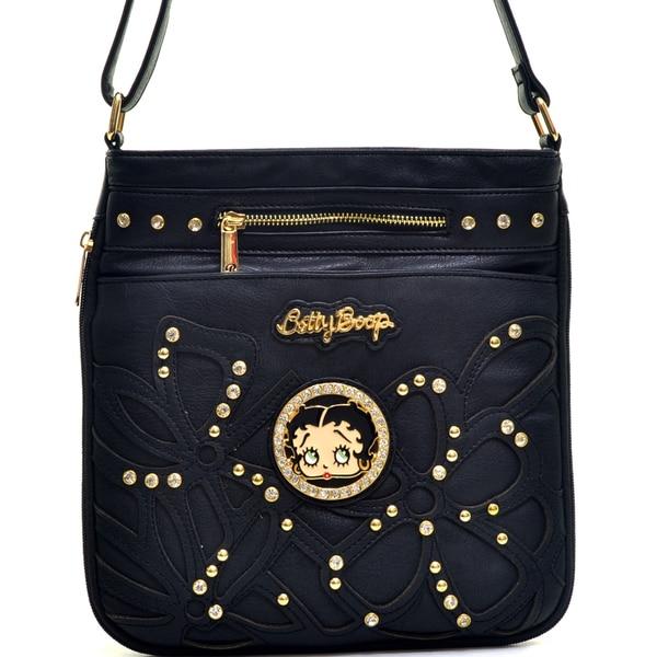 Betty Boop Floral Stitched Studs Shoulder Bag