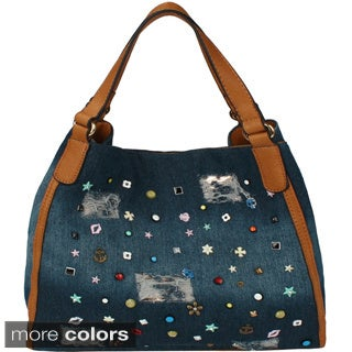 Dasein Distressed Denim and Jewels Hobo Tote