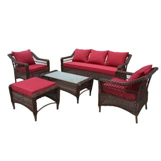 the-Hom Romana 5-piece All-weather Wicker Patio Seating Set with Red Cushions