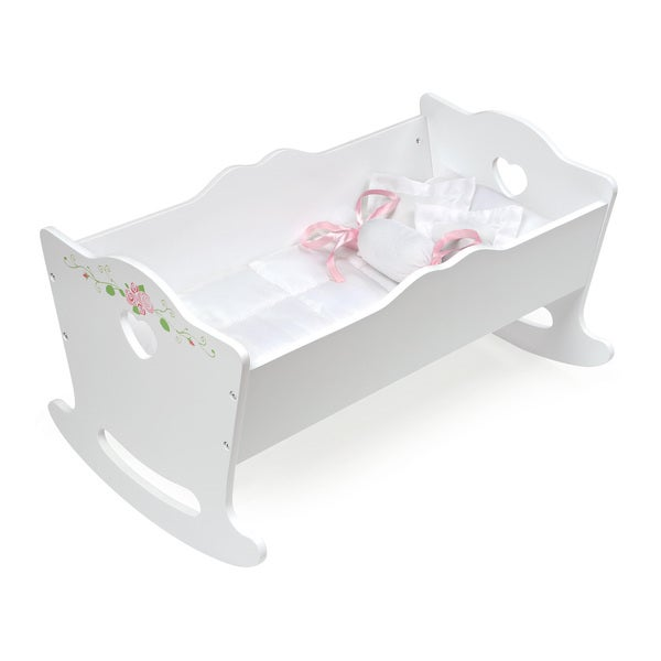 Badger Basket White Rose Doll Cradle