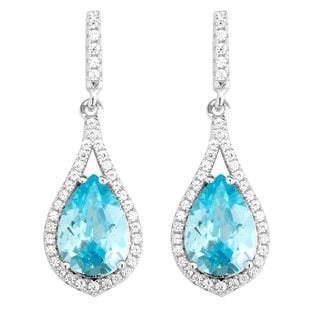 La Preciosa Sterling Silver Micropave Blue and White Teardrop CZ Earrings
