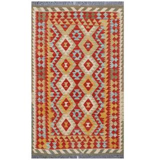 Herat Oriental Afghan Hand-woven Tribal Kilim Red/ Gold Wool Rug (4' x 6'4)