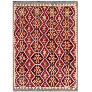 Herat Oriental Afghan Hand-woven Tribal Kilim Burgundy/ Red Wool Rug (4'4 x 5'10)