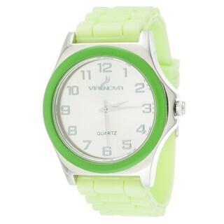 Via Nova Women's Silver Case Green Ring with Green Rubber Strap Watch
