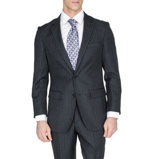 Men's Modern Fit Black Pinstriped Wool and Silk Blend Suit