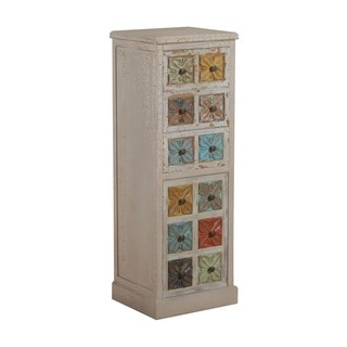 Powell Molly 41-inch Distressed White and Colored Drawers Cabinet