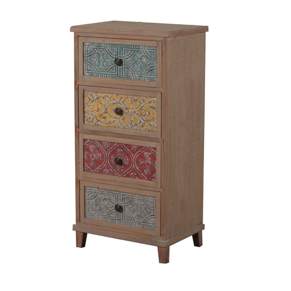 Powell Molly 40-inch Driftwood and Colored Drawers Cabinet