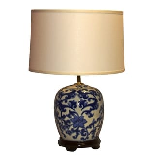 Porcelain Decorative Floral Swirl 1-light Blue and White Table Lamp
