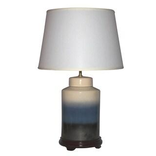 Tiered Design Ceramic 1-light Off White, Dark Blue and Black Table Lamp