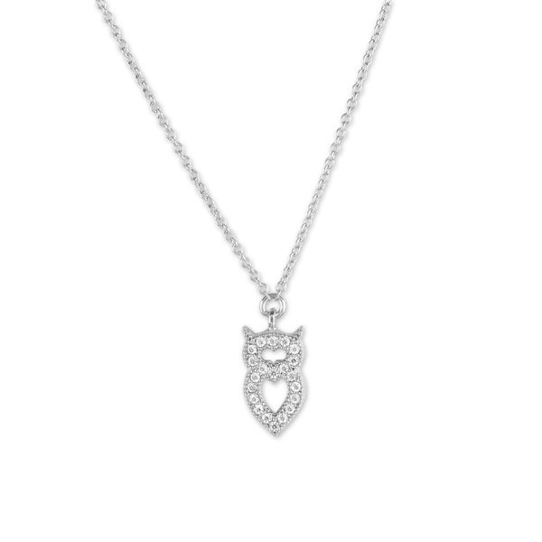 La Preciosa Sterling Silver Micro Pave CZ Small Owl Necklace