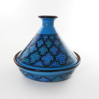Blue Ceramic Turqa Design 12-inch Cookable Tagine (Tunisia)