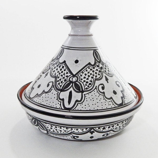 Black/ White Sabrine Design Ceramic 12-inch Cookable Tagine (Tunisia)