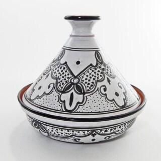 Black/ White Sabrine Design Ceramic 12-inch Cookable Tagine (Tunisia)