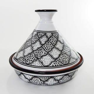 Black/ White Honeycomb Ceramic 12-inch Cookable Tagine (Tunisia)