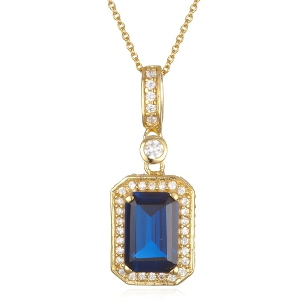 Gold Over Silver Synthetic Sapphire Emerald Pendant
