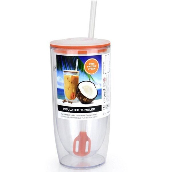 Prepara Insulated Tumbler with Lid and Swizzle Straw