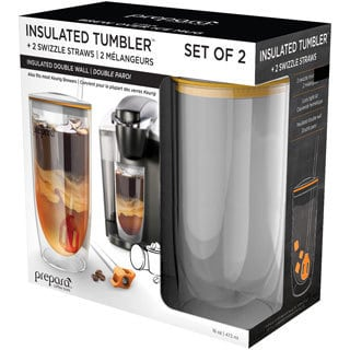 Prepara Insulated Tumbler with Lid and Swizzle Straw (Set of 2)