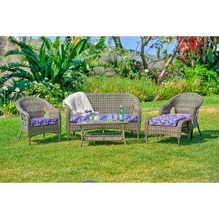 the-Hom St. James 5-piece Wicker Patio Set with Flower Cushions