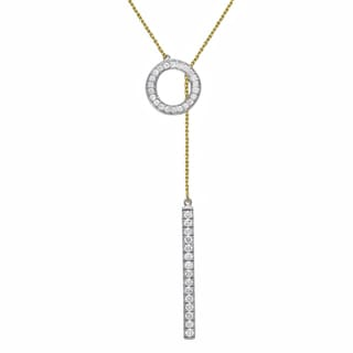 Beverly Hills Charm 10k Gold 1/3ct TDW 'Together Forever' Diamond Lariat Necklace (H-I, I2-I3)