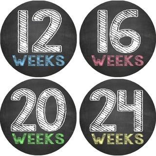 Chalkboard Pregnancy Belly Photo Stickers (Set of 12)