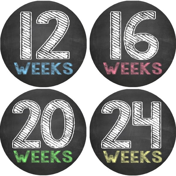 Chalkboard Pregnancy Belly Photo Stickers (Set of 12)