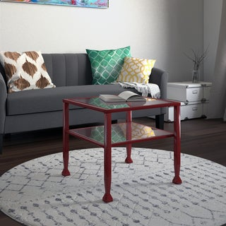 Upton Home Red Metal and Glass Bunching Coffee/ Cocktail Table