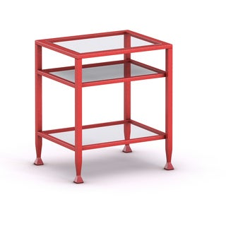 Upton Home Red Metal and Glass Side/ End Table