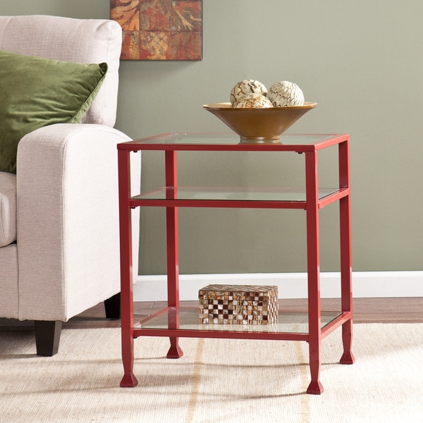Upton home red metal and glass side end table 17078414 overstock