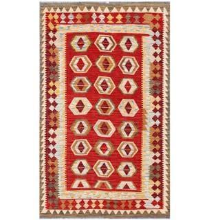 Herat Oriental Afghan Hand-woven Tribal Kilim Red/ Burgundy Wool Rug (3'9 x 6'2)