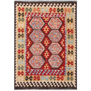 Herat Oriental Afghan Hand-woven Tribal Kilim Red/ Beige Wool Rug (4'1 x 6'1)