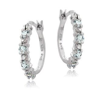 Glitzy Rocks Sterling Silver Aquamarine Diamond Accent Hoop Earrings