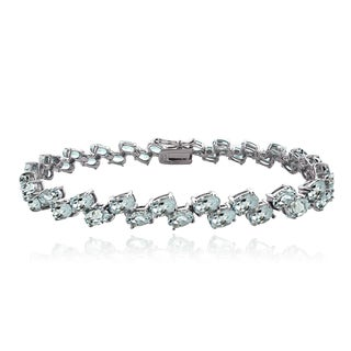 Glitzy Rocks Sterling Silver Aquamarine 2-row Bracelet