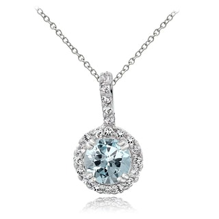Glitzy Rocks Sterling Silver Aquamarine White Topaz Solitaire Necklace