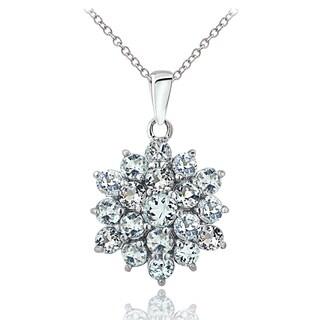 Glitzy Rocks Sterling Silver Aquamarine Flower Necklace