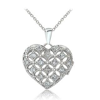 Glitzy Rocks Sterling Silver Aquamarine Diamond Accent Puffed Heart Locket
