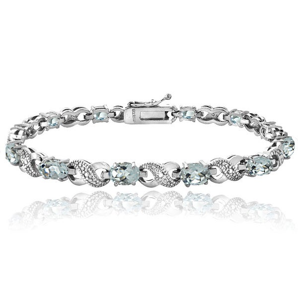 Glitzy Rocks Sterling Silver Aquamarine Diamond Accent Infinity Bracelet 14940831