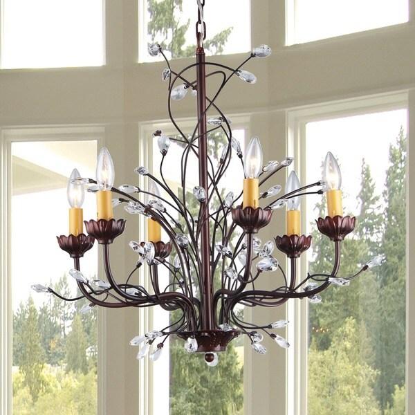 Kinsley Wonderland 6-light Crystal/ Bronze Chandelier