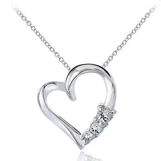 Glitzy Rocks Sterling Silver Aquamarine Heart Necklace