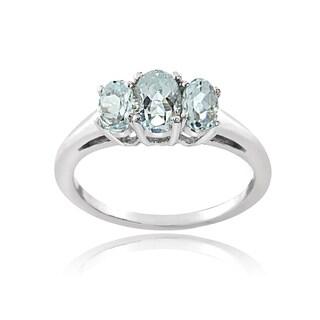 Glitzy Rocks Sterling Silver Aquamarine 3-stone Ring