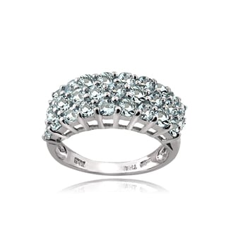Glitzy Rocks Sterling Silver 3-Tier Aquamarine Eternity Ring