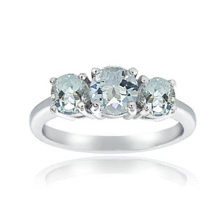 Glitzy Rocks Sterling Silver Round Aquamarine 3-stone Ring