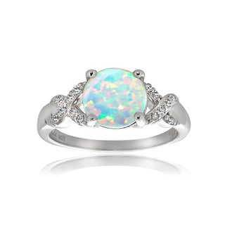 Glitzy Rocks Sterling Silver Created Opal White Topaz Ring